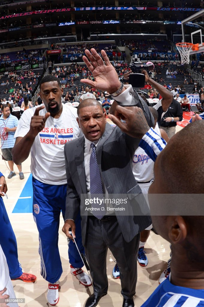 Doc Rivers of the Los Angeles Clippers directs his team before their game against the Utah Jazz at Staples Center on October 23, 2013 in Los Angeles, California.