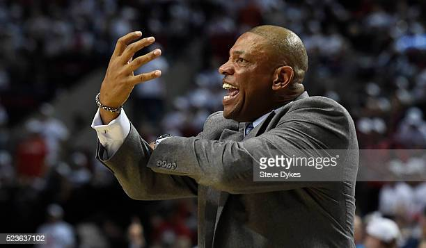 Doc Rivers of the Los Angeles Clippers reacts to an officials call in the third quarter of Game Three of the Western Conference Quarterfinals against...