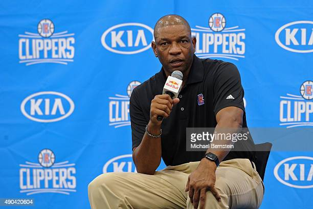 Doc Rivers of the Los Angeles Clippers talks to the media during media day at the Los Angeles Clippers Training Center on September 25 2015 in Playa...