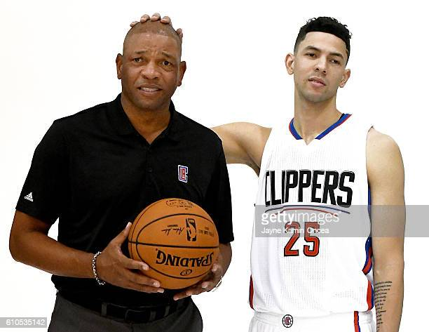 Doc Rivers of the Los Angeles Clippers with his son Austin Rivers during media day at the Los Angeles Clippers Training Center on September 26 2016...