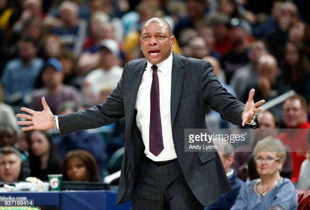 Doc Rivers the head coach of the Los Angeles Clippers gives instructions to his team against the Indiana Pacers at Bankers Life Fieldhouse on March...