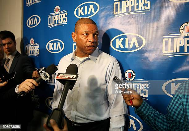 Doc Rivers the head coach of the Los Angeles Clippers talks to the media regarding the Blake Griffin injury status before the game against the...