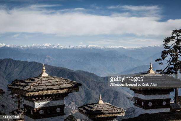 Dochula Chorten with Himalayas in the background