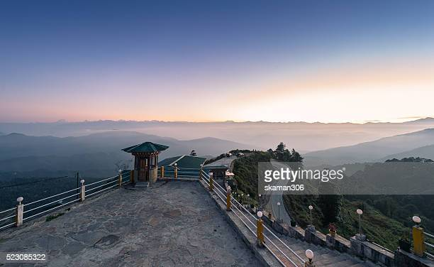 dochula view point with sunrise  at dochula pass, bhutan - thimphu stock pictures, royalty-free photos & images