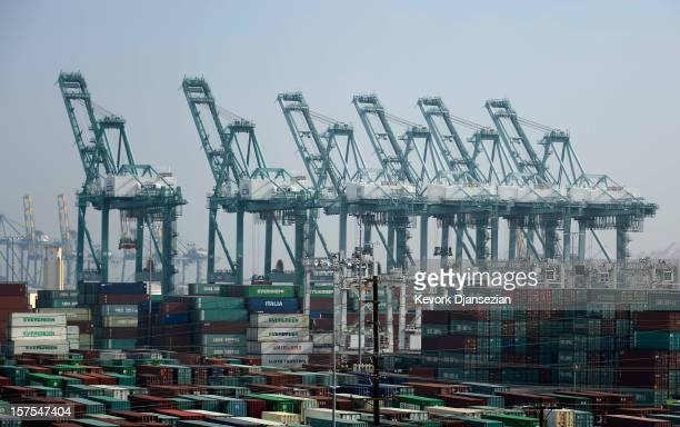 Dock cranes stand idle as the International Longshore and Warehouse Union strike putting a halt to most of the work at Los Angeles and Long Beach...