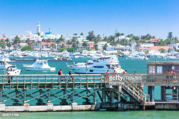 Dock in Mansa beach, Punta del Este city, Uruguay
