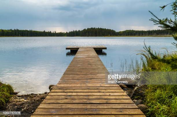 dock in small lake - manitoba stock pictures, royalty-free photos & images
