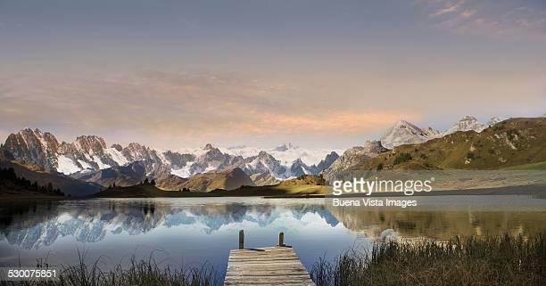 dock on a mountain lake