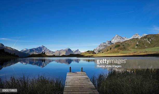 dock on a mountain lake