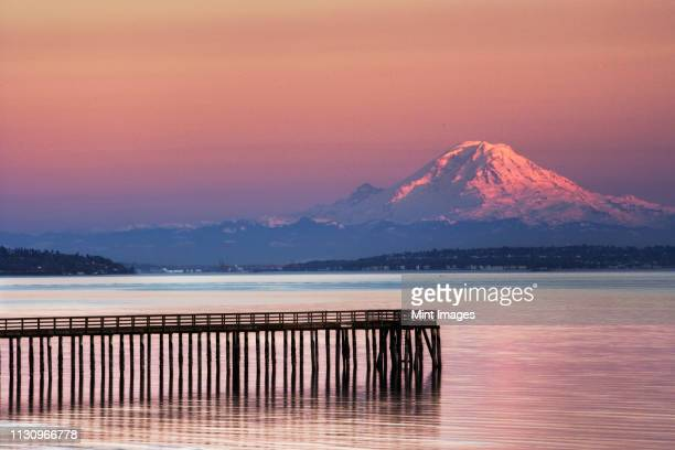 dock, pier and mountain - mt rainier stock pictures, royalty-free photos & images