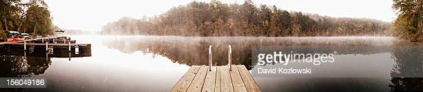 Dock Pier Fog Lake Panorama Landscape