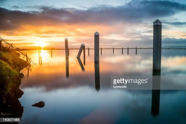 Dock Pilings in San Francisco Bay at sunrise, California, America, USA