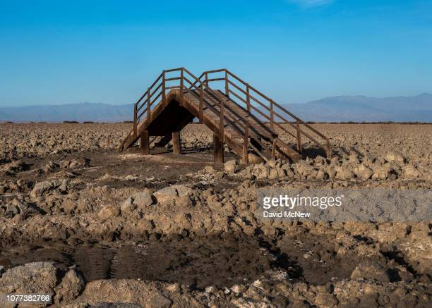 A dock structure at Red Hill Landing is surrounded by plowed dry land where as officials are turning land into managed duck hunting habitat to reduce...