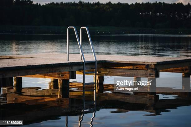 dock with ladder over lake, barnim, mecklenburg-vorpommern, germany - mecklenburg vorpommern stock pictures, royalty-free photos & images