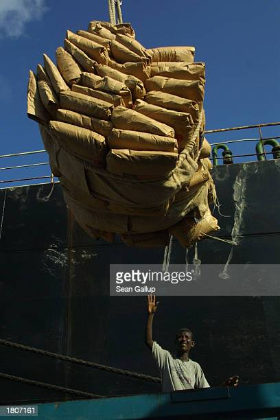 A dock worker loads USdonated bags of wheat destined for Ethiopia onto trucks February 21 2003 in Djibouti Town Djibouti The Food and Agricultural...
