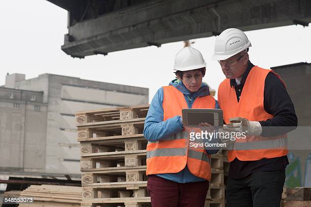 dock worker using digital tablet at port - sigrid gombert stock-fotos und bilder