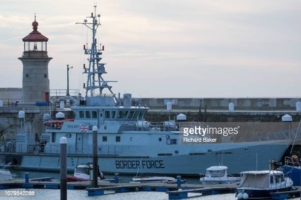 Docked after nighttime interceptions of migrant inflatables from the French coast via the English Channel is the UK Border Force's cutter HMC...