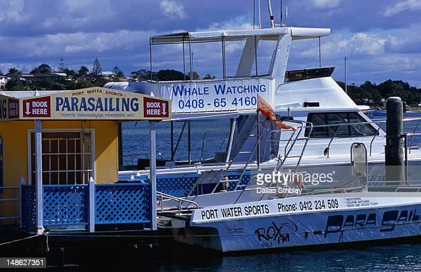 Docked boats.