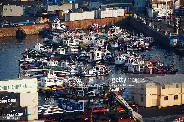Docked fishing boats at Valparaiso port on April 24 in Valparaiso Chile Valparaiso is one of the eight host cities of Copa America Chile 2015