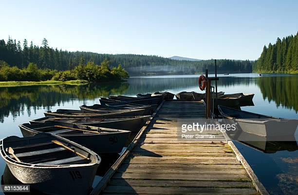 docked row boats used for lake fishing - oregon stock photos and pictures