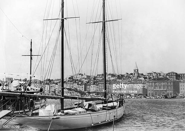 Docked Sailboats In The Port Of Marseille Around The 1930'S1940'S