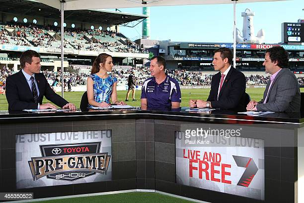 Dockers coach Ross Lyon is interviewed prior to the start of the AFL 1st Semi Final match between the Fremantle Dockers and the Port Adelaide Power...