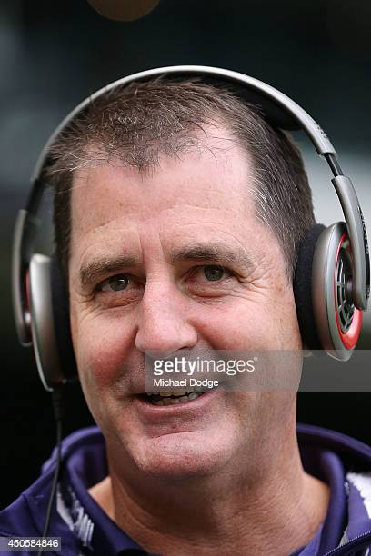 Dockers coach Ross Lyon talks on radio during the round 13 AFL match between the Richmond Tigers and the Fremantle Dockers at Melbourne Cricket...