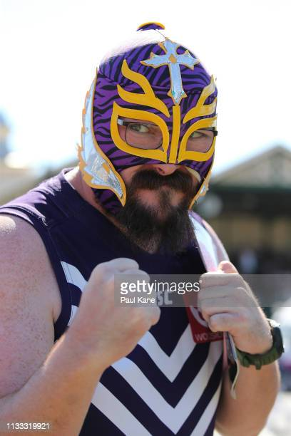 Dockers fan shows his support during the round five AFLW match between the Fremantle Dockers and the Western Bulldogs at Fremantle Oval on March 03,...