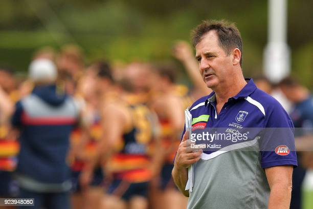 Dockers head coach Ross Lyon looks on during the JLT Community Series AFL match between the Adelaide Crows and the Fremantle Dockers at Strathalbyn...