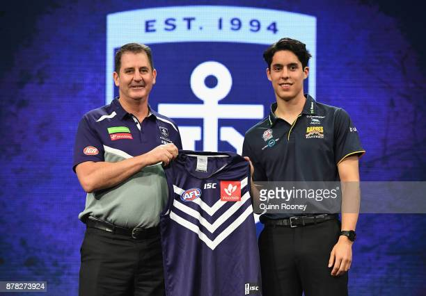 Dockers head coach Ross Lyon poses with Adam Cerra during the 2017 AFL Draft at Sydney Showgrounds on November 24 2017 in Sydney Australia