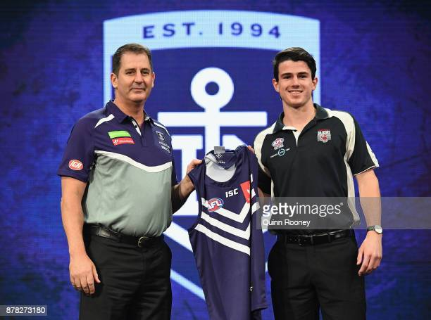Dockers head coach Ross Lyon poses with Andrew Brayshaw during the 2017 AFL Draft at Sydney Showgrounds on November 24 2017 in Sydney Australia