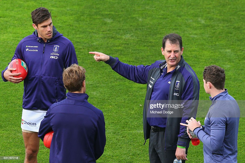 Dockers Head Coach Ross Lyon Speaks To Garrick Ibbotson Of The News Photo Getty Images