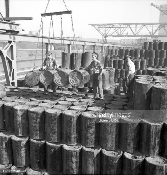 Dockers loading goods Rhine port Basle 1948