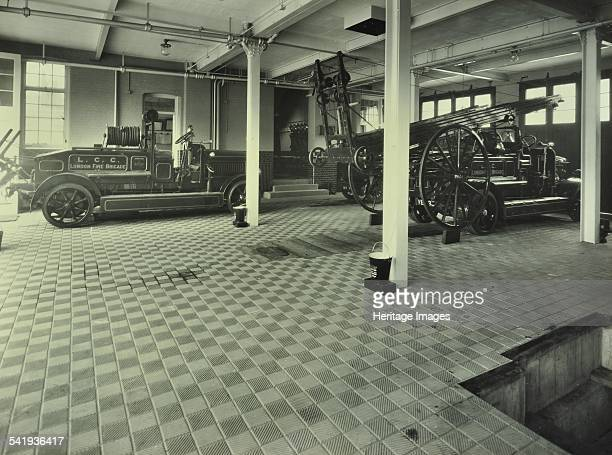 Dockhead Fire Station No 8 Wolseley Street Bermondsey London 1929 Fire engines parked inside the fire station Artist unknown