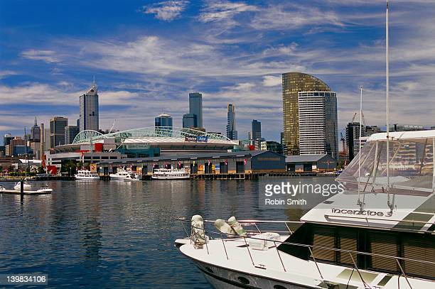 docklands complex, telstra dome, and city, melbourne, victoria - docklands stadium melbourne stock pictures, royalty-free photos & images