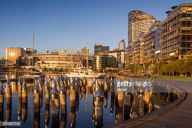 docklands, melbourne - docklands stadium melbourne stock pictures, royalty-free photos & images