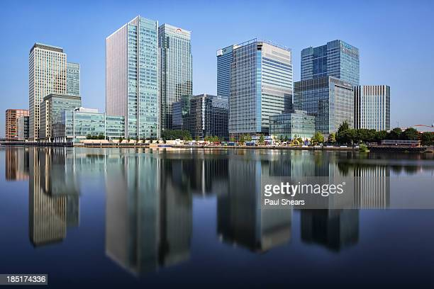 docklands morning - canary wharf stock photos and pictures