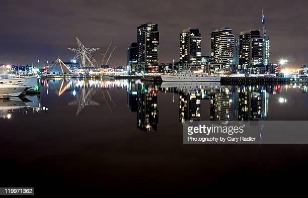 Docklands skyline at night in Melbourne