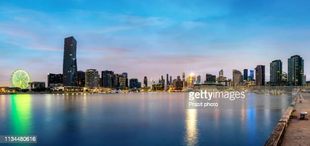 docklands waterfront during sunrise in melbourne, victoria, australia. - ヤラ川 ストックフォトと画像