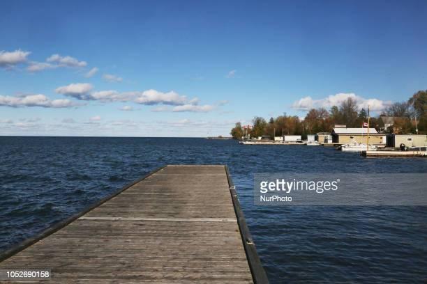 Docks along Lake Simcoe in Island Grove East Gwillimbury Ontario Canada
