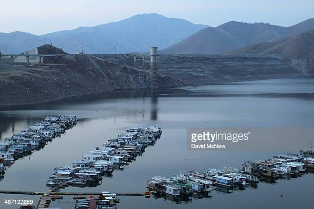 Docks float on extremely low-level water in Lake Kaweah on February 5, 2014 near Visalia, California. Now in its third straight year of unprecedented...