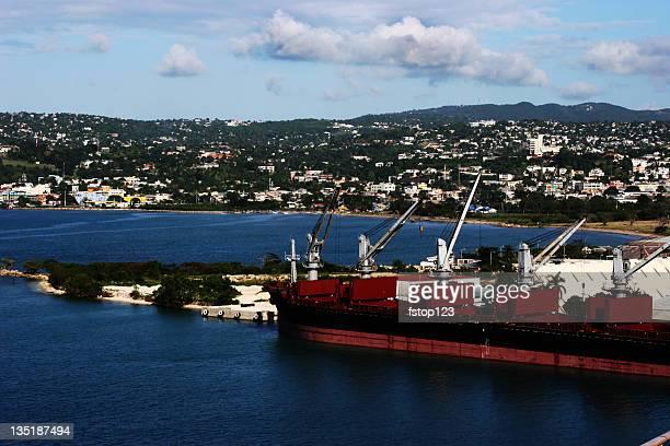 Docks in Jamaica port. Caribbean. Ocean. Island. Ships.