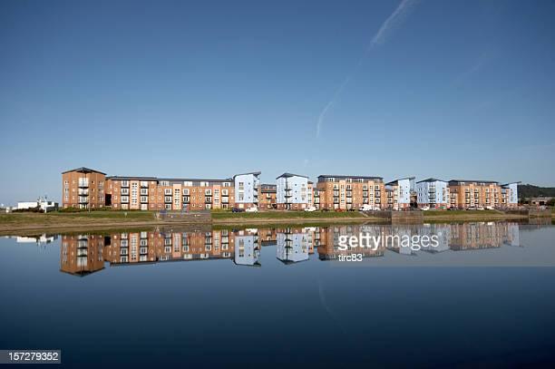 Dockside housing development and reflection