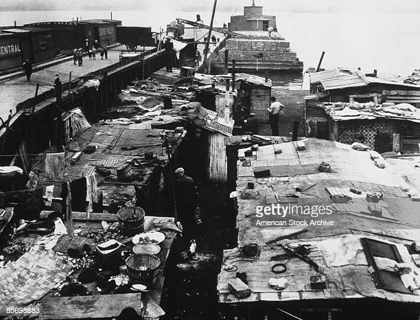 A dockside shantytown or 'Hooverville' built by homeless men during the Great Depression circa 1935