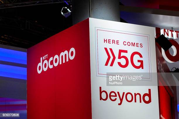 5G Docomo logo during the Mobile World Congress day 4 on March 1 2018 in Barcelona Spain
