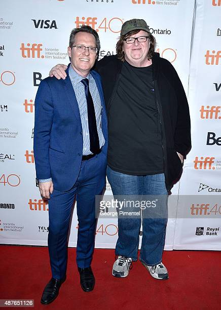 Docs Programmer Thom Powers and director Michael Moore attend the 'Where To Invade Next' premiere during the 2015 Toronto International Film Festival...