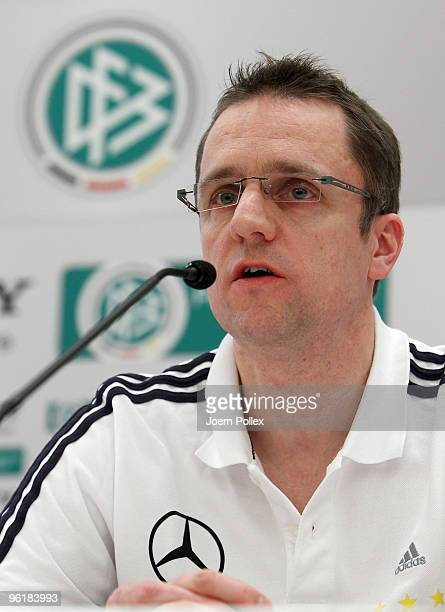 Doctor and member of the medical team Tim Meyer of German football association speaks to the media during a DFB press conference at the Le Meridien...