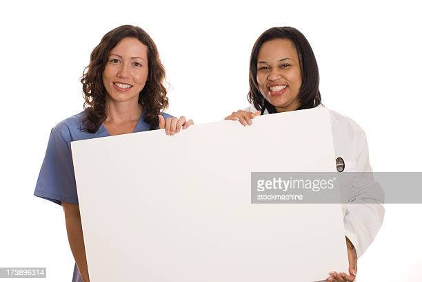 Doctor and Nurse Holding Big, Blank Sign