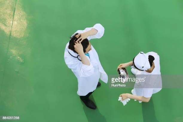 Doctor and nurse,top view