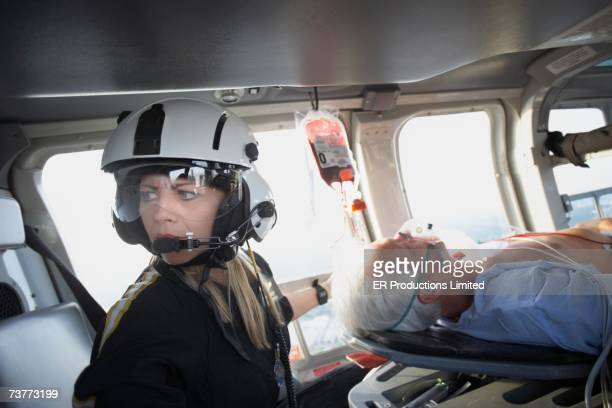 Doctor and patient in medical helicopter